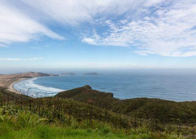 Cape Reinga mit Blick auf Te Werahi Beach, Northland, Neuseeland