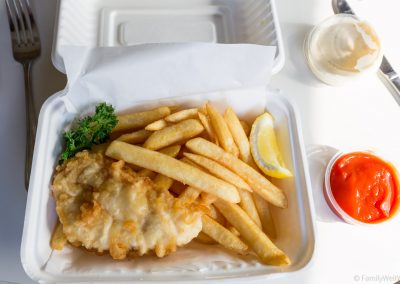 Fish and Chips vom Take-away in Mangonui, Northland, Neuseeland
